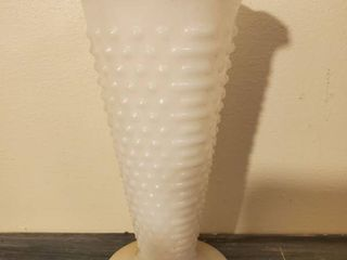 Hobnail and Milk Glass Vase with Crimped lip