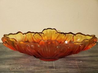 Red and Yellow Fruit Bowl or Center Piece  Almond Shaped
