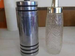 lot Of 2 Vintage Drink Shakers One Stainless Steel The Other Raised Decorative Glass