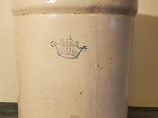 Antique Blue Crown  6 Crock