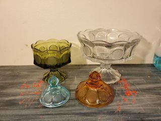 lot of 4 Cointdot Glassware  Either Missing lids or Bottom