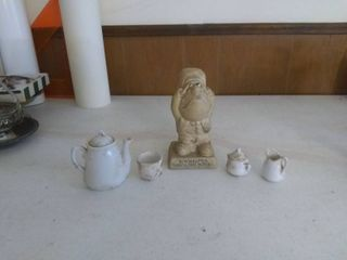 lot Of 4 Miniature Tea set Accessories Some Imperfections