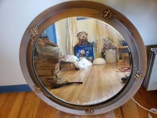 Circle Mirror with Grape Design with Wooden Frame
