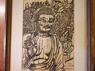 T Sato 1963 no 8 Oriental Picture of Healing Buddha   Sketched in Temple Near Nara Japan