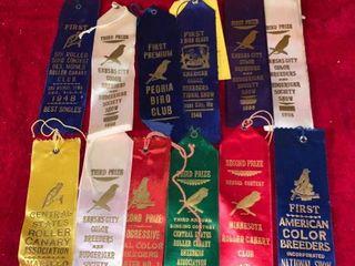 lot of 12 Vintage Bird Prize Ribbons location lR Shelf B