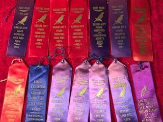 lot of 14 Vintage Bird Prize Ribbons location lR Shelf B