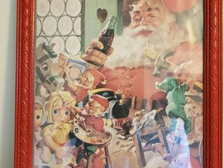 COCA COlA Santa Picture with working Elves in Red Wooden Frame