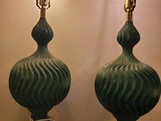 lot of 2 Green Pull Chain lamps  with Wave like Design  Tested and Working No Shades