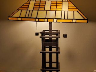 Stainglass lamp With Iron Base  Tested and Working