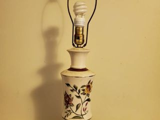 White with Burgandy Stripe and Floral Decor lamp Tested and Working