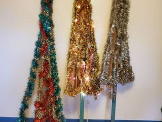 lot of 3 Frizzy Trees 1 With Working lights
