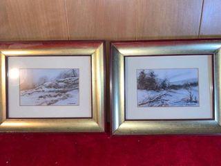 Two Dorothy Kordash Winter Scene Prints location lR Shelf A