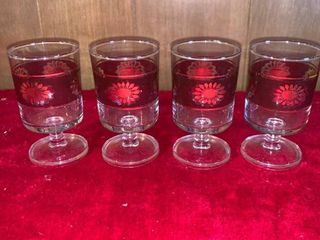 Set of 4 Retro Red Cordial Glasses location lR Shelf A