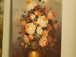 Oil Painting on Canvas with Pink Flowers in Vase