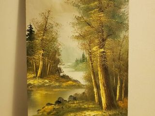 Oil Painting of Calm River in the Woods
