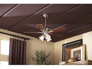 Harbor Breeze 42 in Brushed Nickel led Indoor Ceiling Fan W  light Kit  5 blade