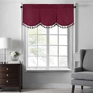 Colette Faux Silk Tassel Scallop Window Valance  48 x21