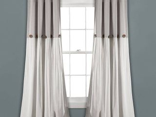 108 x40  linen Button light Filtering Window Curtain Panel Gray White   lush Decor