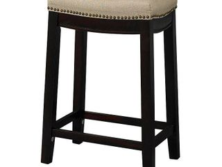 Nail Head 26  Backless Counter Stool Upholstered Seat   Beige Walnut   linon