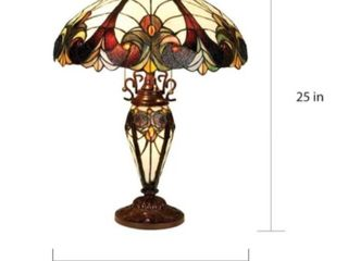 Tiffany Style Victorian Design Double lit 2 1 light Table lamp  Retail 184 99