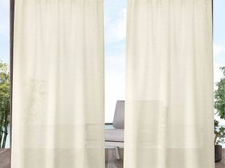 Exclusive Home Curtains Miami Textured Indoor Outdoor Tab Top Curtain Panels  54 x96  Ivory  Set of 2