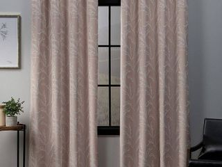Set of 2 96 x52  Kilberry Woven Blackout Grommet Top Window Curtain Panel Blush   Exclusive Home