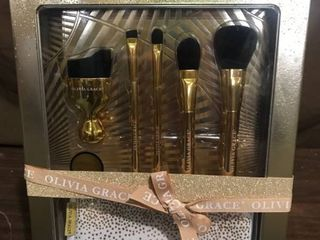 Olivia Grace 24K Gold Makeup Brush Collection with Beauty Bag
