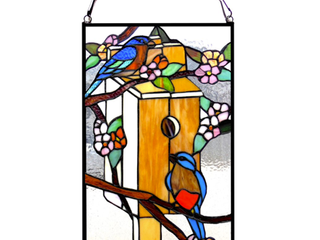 CHlOE lighting HOME Tiffany glass Window Panel 12x19