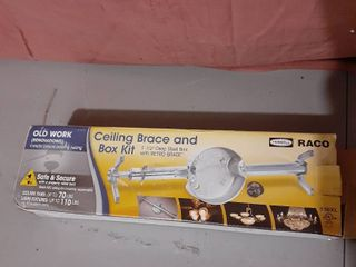 Hubbell Raco Ceiling Brace And Box Kit 1 1 2  Deep Steel Box Retro brace A4