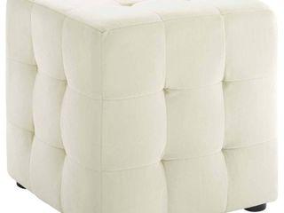 Contour Cube Velvet Ottoman Ivory   Modway