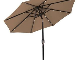 7  Solar lED Patio Umbrella by Trademark Innovations  Tan