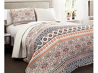 Premium Nesco Reversible 3 Piece Full Queen Quilt   Sham Bedding Set by lush Decor