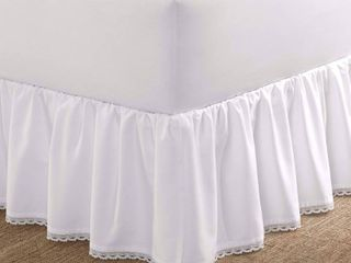 laura Ashley Twin Crochet Ruffle Tailored Bedskirt White