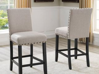 Roundhill Furniture Biony Fabric Nail Head Counter Height Stools 2 piece set Tan