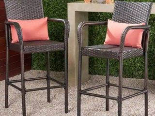 Christopher Knight Home Delfina Outdoor Wicker Barstool  Set of 2