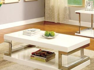 Furniture Of America Meda Glossy White Coffee Table With Chrome Frame Accents