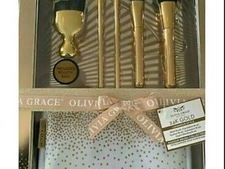 OlIVIA GRACE 24K Gold luminous Style Makeup Brush Collection With Beauty Bag 6 Pc