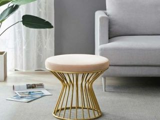 Silver Orchid Burkett Round Ottoman   Stool with Metal Base