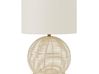 Bryn Coastal Rattan Table lamp with linen Shade