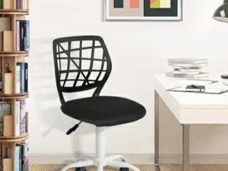 Porch   Den Nazaneen Cut out Plastic Backrest  White Metal Base Task Chair