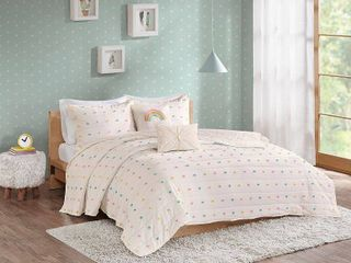 Urban Habitat Kids Callie Full Queen 5 Piece Cotton Jacquard Pom Pom Coverlet Set Bedding