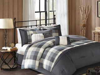 Gray 7pc Herringbone Comforter Bedding Set with Bedskirt and Decorative Pillows   Warren