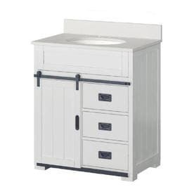 Style Selections Morriston White Single Sink Vanity with White Engineered Stone Top  Common  30 in x 20 in