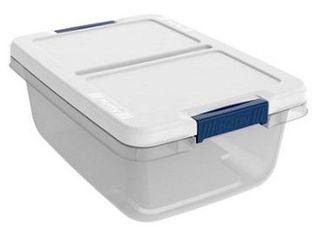 Hefty Modular Clear Storage Bins  40 Qt  Stackable Bin with latch  White Navy  No lid