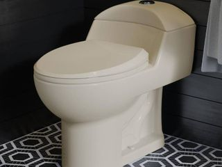 Swiss Madison Chateau 1 Piece 0 8 GPF 1 28 GPF Dual Flush Elongated Toilet in Bisque  Seat Included