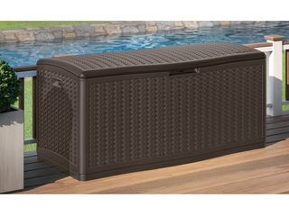 124gal Resin Wicker Deck Box Brown   Suncast