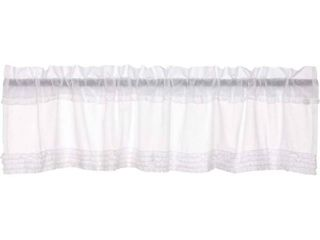 Soft White Farmhouse Kitchen Curtains White Ruffled Sheer Rod Pocket Cotton Ruffling Sheer Solid Color 16x72 Valance