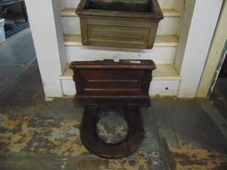 Vintage Oak Toilet Seat and Water Box