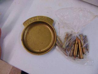 Brass Pocket Change Holder and 13 Rounds of ammunition