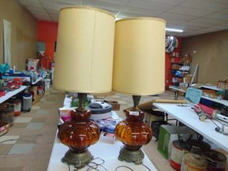 Pair of Brown Glass lamps   With Shades   Retro